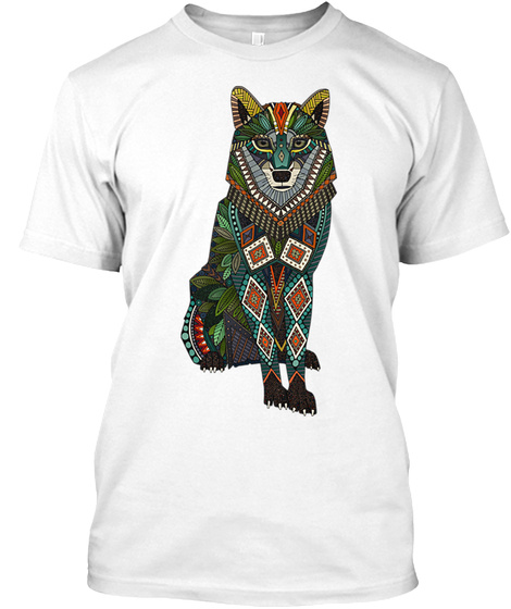 Wolf Art White T-Shirt Front