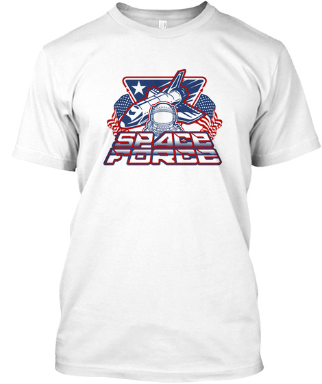 Us Space Force Art | Spaceship Us Flag White T-Shirt Front