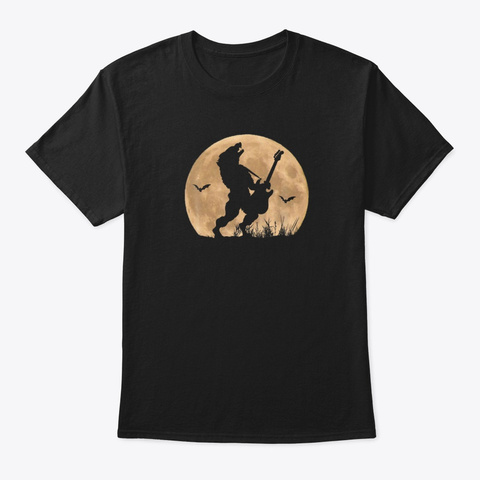 Wolf Rock Guitarist Halloween Guitar  Black T-Shirt Front