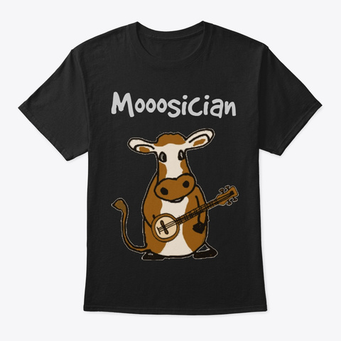 Funny Tee   Moosician Black T-Shirt Front
