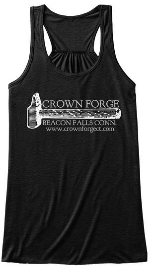 Crown Forge Beacon Falls Conn. Www.Crownforgect.Com Black T-Shirt Front