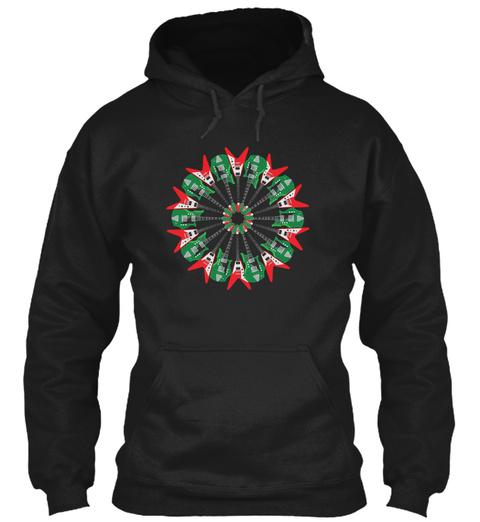 Electric Guitar Holiday Wreath 99 Black T-Shirt Front