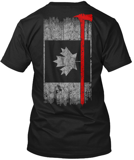Firefighter   Thin Red Line Canada Black T-Shirt Back