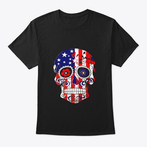 Sugar Skull Usa Flag T Shirt Black T-Shirt Front