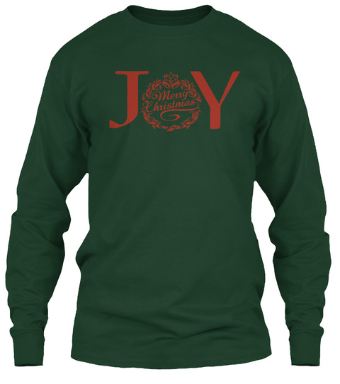 Joy Merry Christmas Forest Green T-Shirt Front
