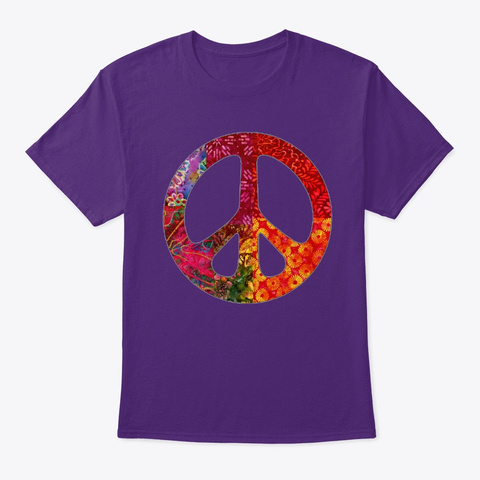 Retro Batik Peace Sign  Purple T-Shirt Front