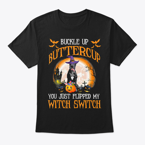 Buckle Up You Just Flipped My Witch Hall Black T-Shirt Front
