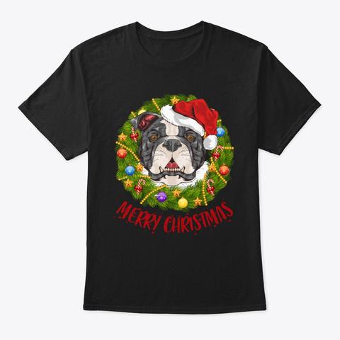 Pitbull In Christmas Wreath Tshirt Black T-Shirt Front