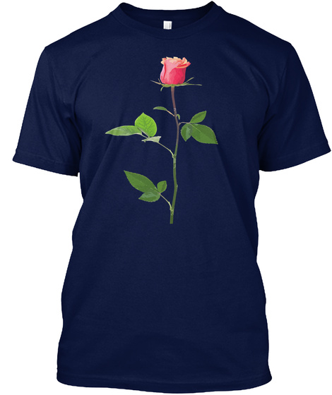 Love Rose Valentines Tshirt Navy T-Shirt Front