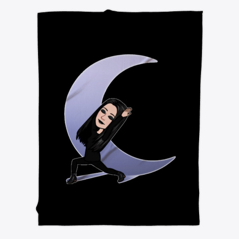 The Gothic Moon Fleece Blanket Black T-Shirt Front