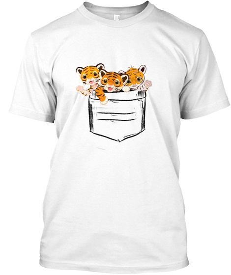 Cat In A  Pouch   Bengal Tiger Kittens White T-Shirt Front