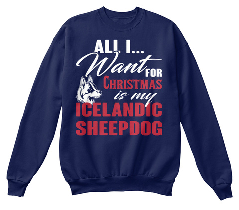 Icelandic Sheepdog Ugly Christmas Sweate Navy  T-Shirt Front