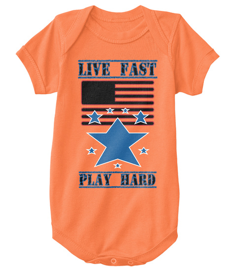 Live Fast Play Hard Orange T-Shirt Front