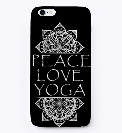 Peace Love And Yoga Accessories  Black T-Shirt Front