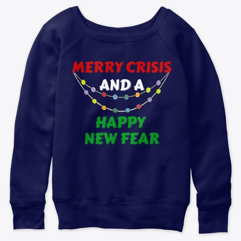 Merry Christmas New Year Holiday Gift Navy  T-Shirt Front