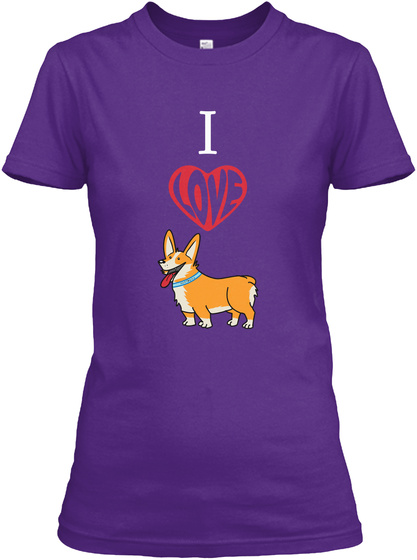 I Love Dog Purple T-Shirt Front