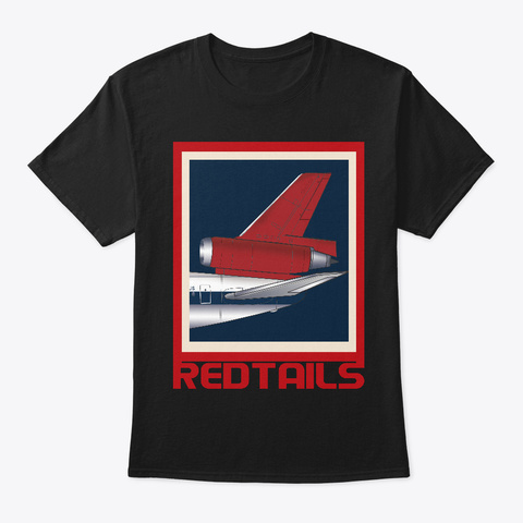 Red Tails Jet Black T-Shirt Front