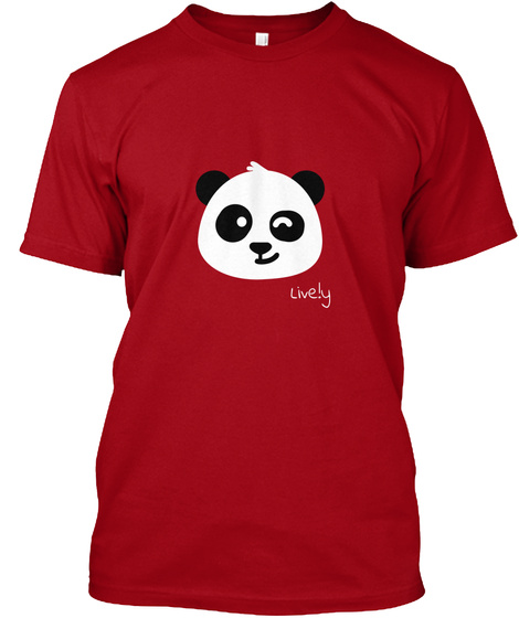 Live.Ly Panda Deep Red T-Shirt Front