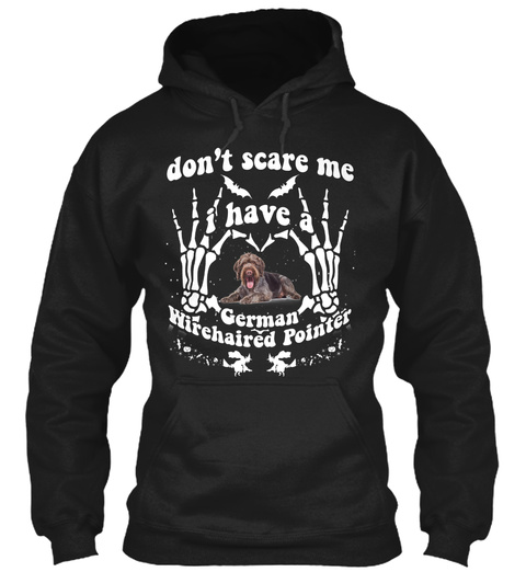 German Wirehaired Pointer Halloween Mugs Black Sweatshirt Front