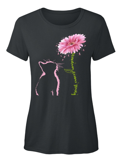 Breast Cancer Awareness Pink Daisy Cat Black T-Shirt Front