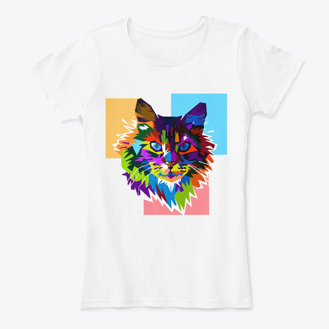 Colorful Cat Face Rainbow Art Design White T-Shirt Front