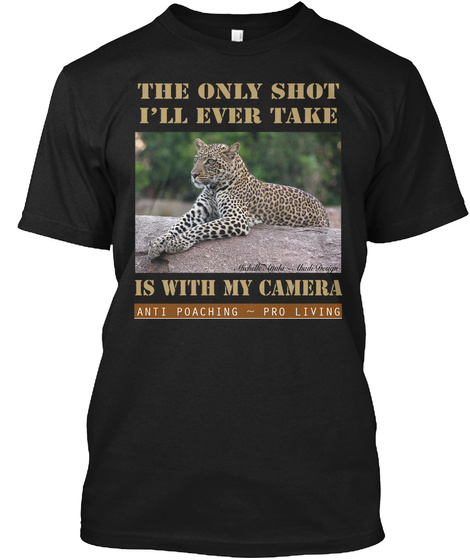 Anti Poaching Leopard Black T-Shirt Front