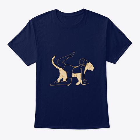 Yoga Tiger Design Navy T-Shirt Front