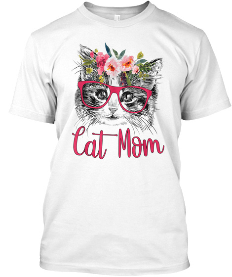 Funny Cat Mom Hipster Love Cats Glasses  White T-Shirt Front