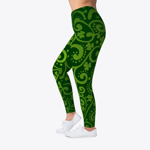 St Patrick's Day Leggings Irish Shamrock Black T-Shirt Left