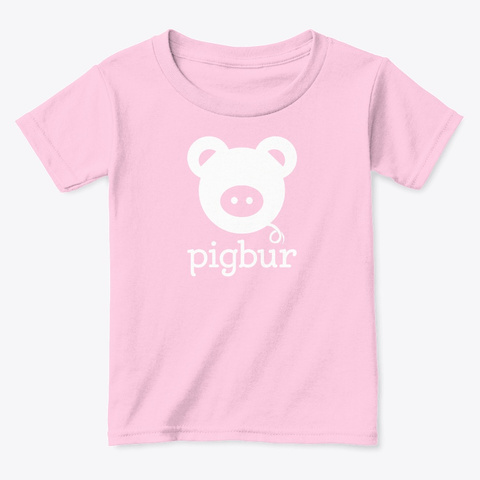 Pigbur Short Sleeve Tee W/White Light Pink  T-Shirt Front