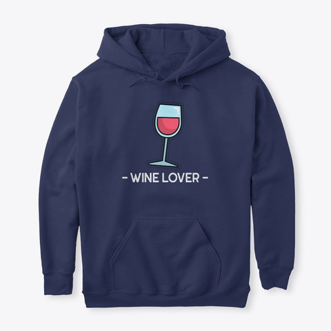 Wine Lover Navy T-Shirt Front