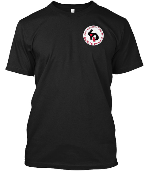 New Hanover County Rabbit Rescue Tee's  Black T-Shirt Front