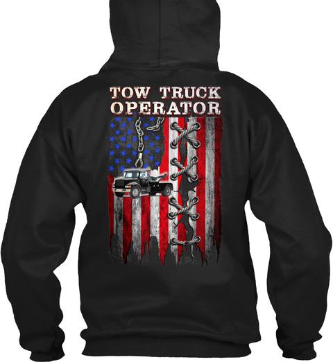 Tow Truck Operator Black T-Shirt Back