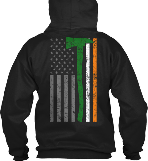 Firefighter   Irish Flag Black T-Shirt Back