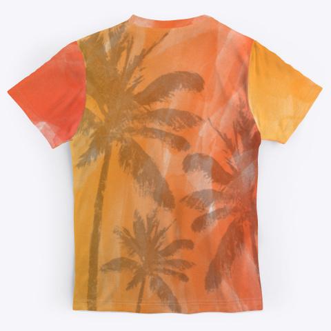 Palm Trees On Watercolor Print Medium Grey T-Shirt Back