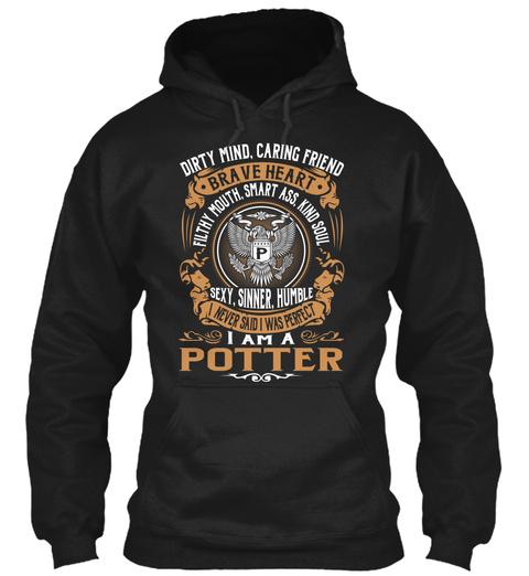 Potter Black T-Shirt Front