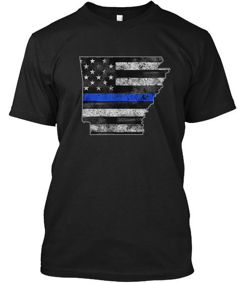 Arkansas Thin Blue Line Black T-Shirt Front