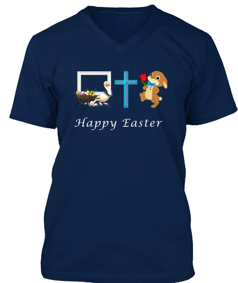 Easter Shirts, Easter Bunny Tshirt Navy T-Shirt Front