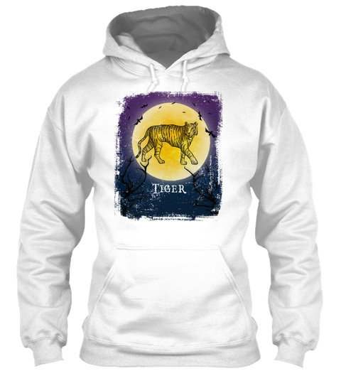 Tiger Halloween Vintage Design Full Moon White T-Shirt Front