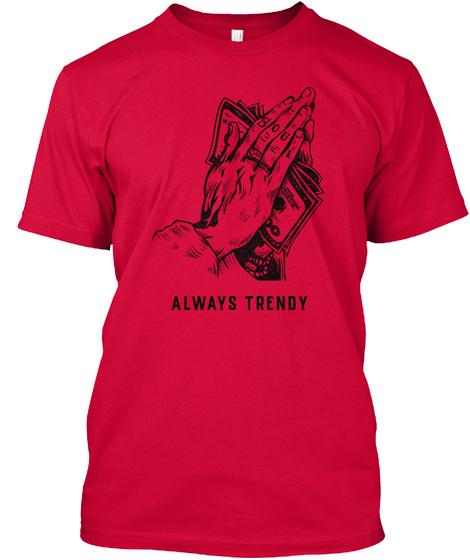 Money, Dollar Bills In Hands,Trendy Soul Red T-Shirt Front