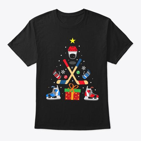 Funny Ice Hockey Christmas Tree Matching Black T-Shirt Front