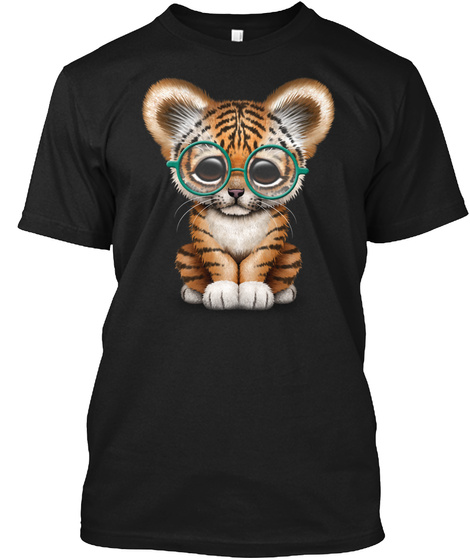 Cute Baby Tiger Cub Wearing Glasses Black T-Shirt Front