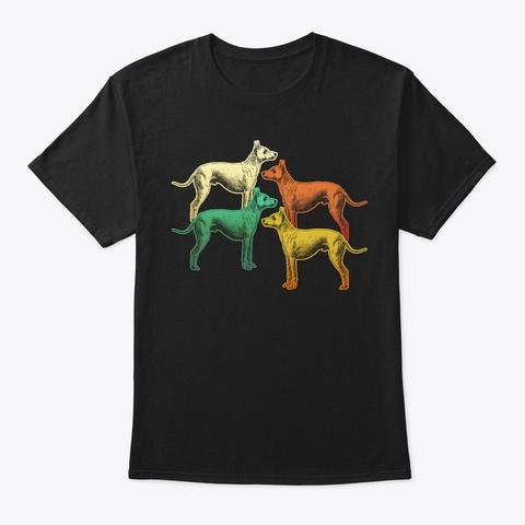 Vintage Retro Great Dane For Dog Lover Black T-Shirt Front