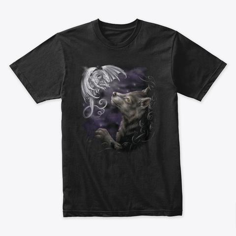 Dragon   Wolf T Shirt Black T-Shirt Front