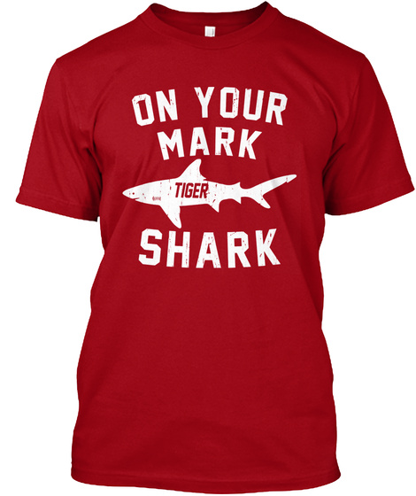 On Your Mark Tiger Shark Deep Red T-Shirt Front