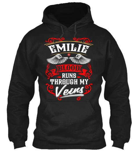 Emilie Blood Runs Through My Veins Black T-Shirt Front