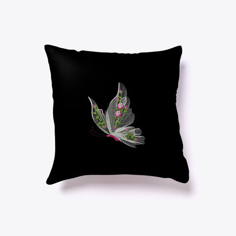 Throw Pillow Design Floating Butterfly Black T-Shirt Back