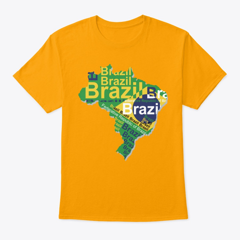 Map Of Brazil Gold T-Shirt Front