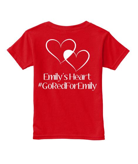 Emily's Heart #Goredforemily Red  T-Shirt Back