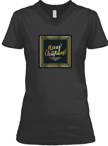 Merry Christmas Gold Black T-Shirt Front